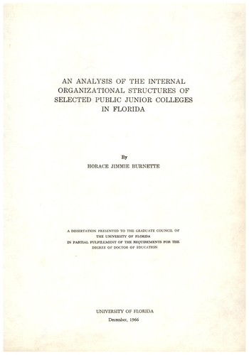 An analysis of the internal organizational structures of selected public junior colleges in Florida by Horace Jimmie Burnette