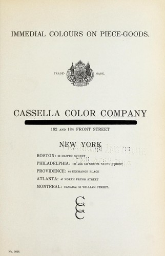 Immedial colours on piece-goods by Cassella Color Company