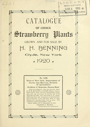 Catalogue of choice strawberry plants by H.H. Benning (Firm)