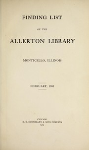Cover of: Finding list, February, 1903 | Monticello (Ill.). Allerton Library