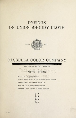 Dyeings on union shoddy cloth by Cassella Color Company
