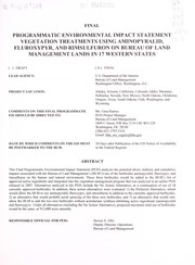 Cover of: Final programmatic environmental impact statement vegetation treatments using aminopyralid, fluroxypyr, and rimsulfuron on Bureau of Land Management lands in 17 western states | United States. Bureau of Land Management
