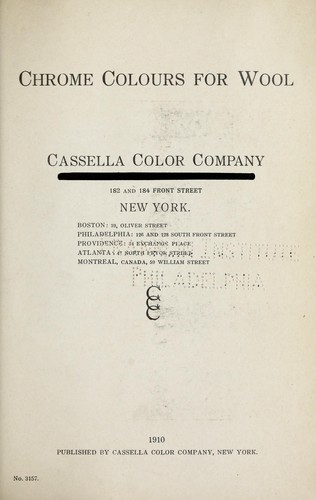 Chrome colours for wool by Cassella Color Company