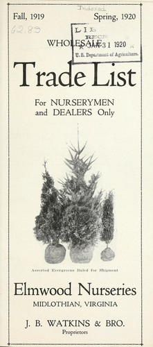 Wholesale trade list for nurserymen and dealers only by J. B. Watkins & Brother (Midlothian Va.)