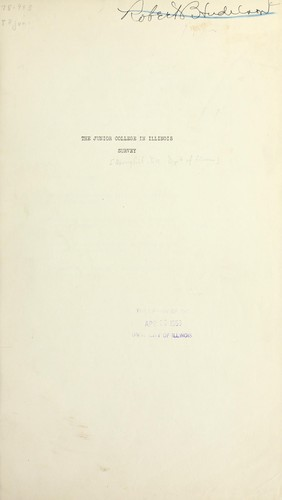 The junior college in Illinois survey by Leonard Vincent Koos