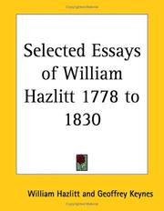 Cover of: Selected Essays of William Hazlitt 1778 to 1830 | William Hazlitt