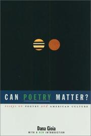 Cover of: Can poetry matter? by Dana Gioia