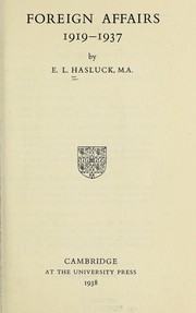 Cover of: Foreign affairs, 1919-1937 | Eugène Lewis Hasluck