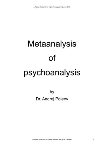 Metaanalysis of psychoanalysis by Dr. Andrej Poleev