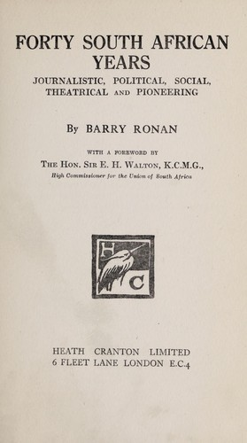 Forty South African years by Barry Ronan