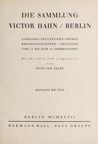 Cover Of: Sammlung Victor Hahn, Berlin | Hermann Ball U0026 Paul Graupe (Berlin