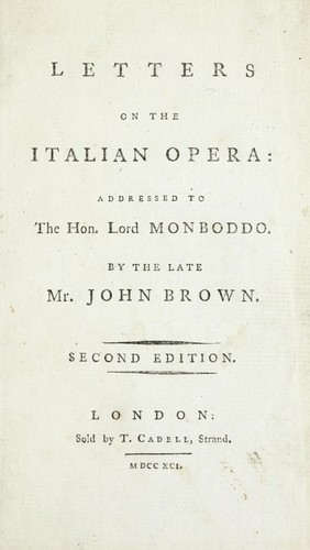 Letters on the Italian opera by Brown, John