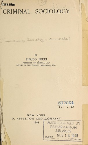 Criminal sociology by Ferri, Enrico