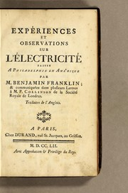 Cover of: Experiments and observations on electricity | Benjamin Franklin