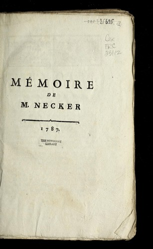 Memoire de M. Necker by Jacques Necker