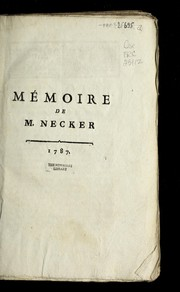 Cover of: Memoire de M. Necker | Jacques Necker