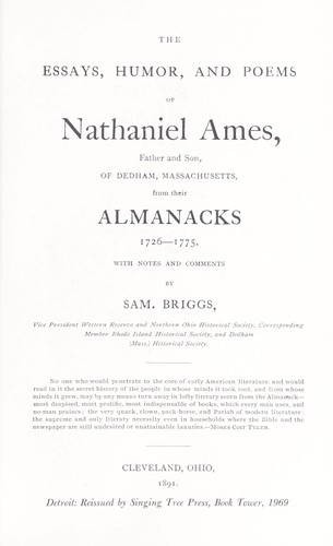 The essays, humor, and poems of Nathaniel Ames by Samuel Briggs