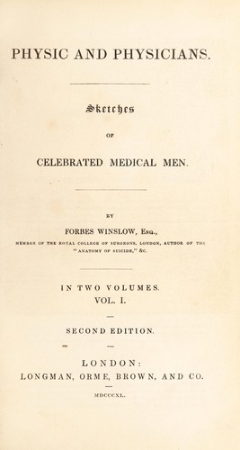 Physic and physicians by Forbes Winslow