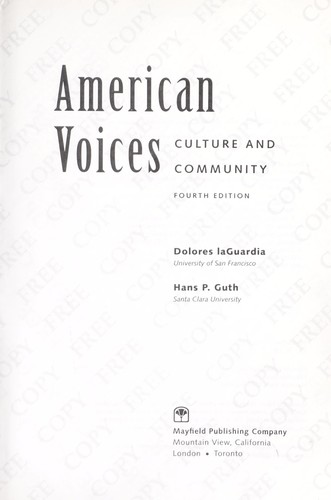 American Voices by Dolores laGuardia; Hans P. Guth