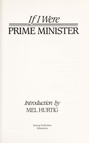 If I Were Prime Minister by Mel Hurtig