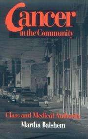 Cover of: CANCER IN  COMMUNITY | Martha Levittan Balshem