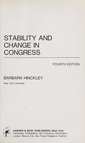 Stability and change in Congress by Barbara Hinckley