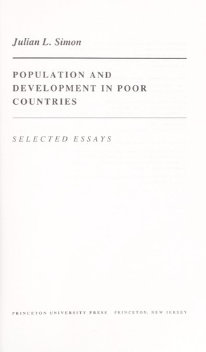 Population and development in poor countries by Julian Lincoln Simon