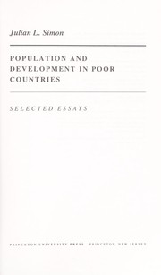 Cover of: Population and development in poor countries | Julian Lincoln Simon