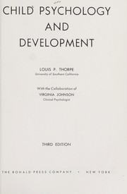 Cover of: Child psychology and development | Louis Peter Thorpe