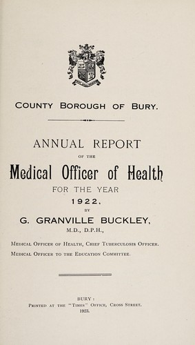 [Report 1922] by Bury (Greater Manchester, England). County Borough Council