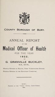 Cover of: [Report 1922] | Bury (Greater Manchester, England). County Borough Council