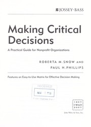 Cover of: Making critical decisions | Roberta Snow