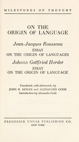 On The Origin Of Language Jeanjacques Rousseau Essay On The  Cover Of On The Origin Of Language Jeanjacques Rousseau Essay On