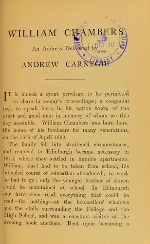 William Chambers by Andrew Carnegie