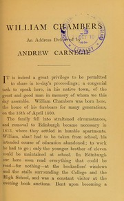 Cover of: William Chambers | Andrew Carnegie