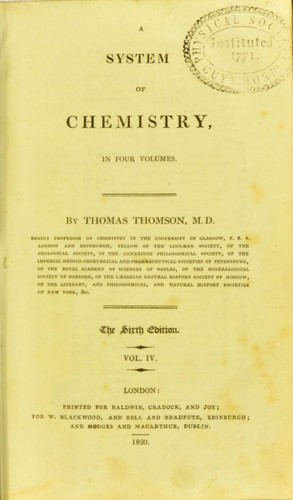 A system of chemistry by Thomson, Thomas