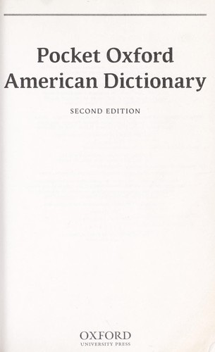 Pocket Oxford American dictionary | Open Library