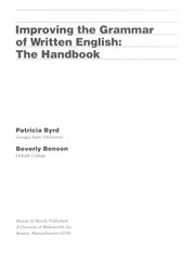 Cover of: Improving the grammar of written English | Patricia Byrd