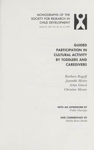 Guided participation in cultural activity by toddlers and caregivers by
