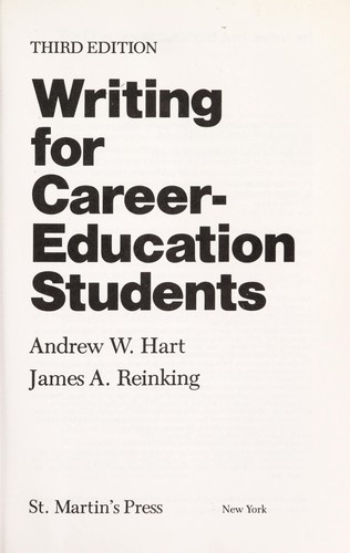 Writing for career-education students by Andrew W. Hart