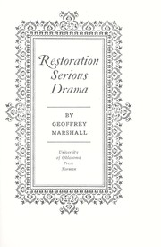 Cover of: Restoration serious drama | Geoffrey Marshall
