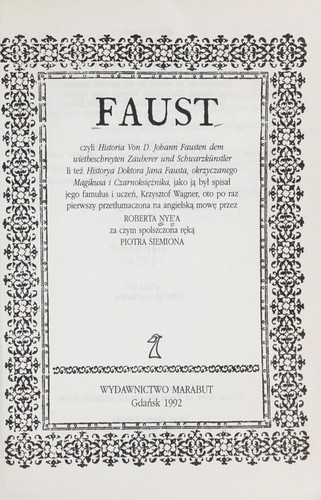 Faust by Robert Nye