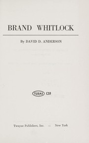 Cover of: Brand Whitlock by David D. Anderson