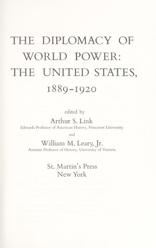 The diplomacy of world power by Arthur Stanley Link