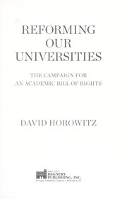 Cover of: Reclaiming our universities | David Horowitz