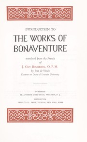 Cover of: Introduction to the works of Bonaventure | Jacques Guy Bougerol