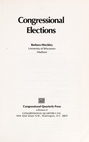 Congressional elections by Barbara Hinckley