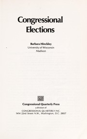 Cover of: Congressional elections | Barbara Hinckley