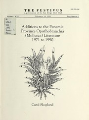 Cover of: Additions to the Panamic Province opisthobranchia (Mollusca) literature, 1971 to 1990 | Carol Skoglund