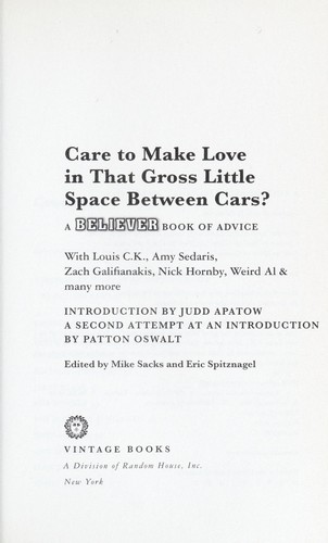 Care to make love in that gross little space between cars? by Mike Sacks